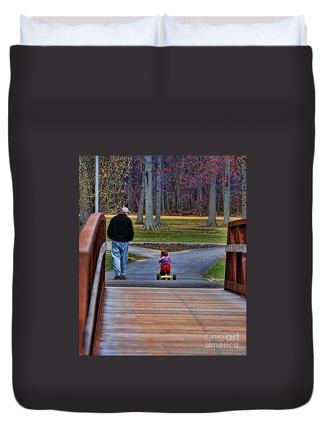 Paul Ward Duvet Cover featuring the photograph Family - A Father's Love by Paul Ward