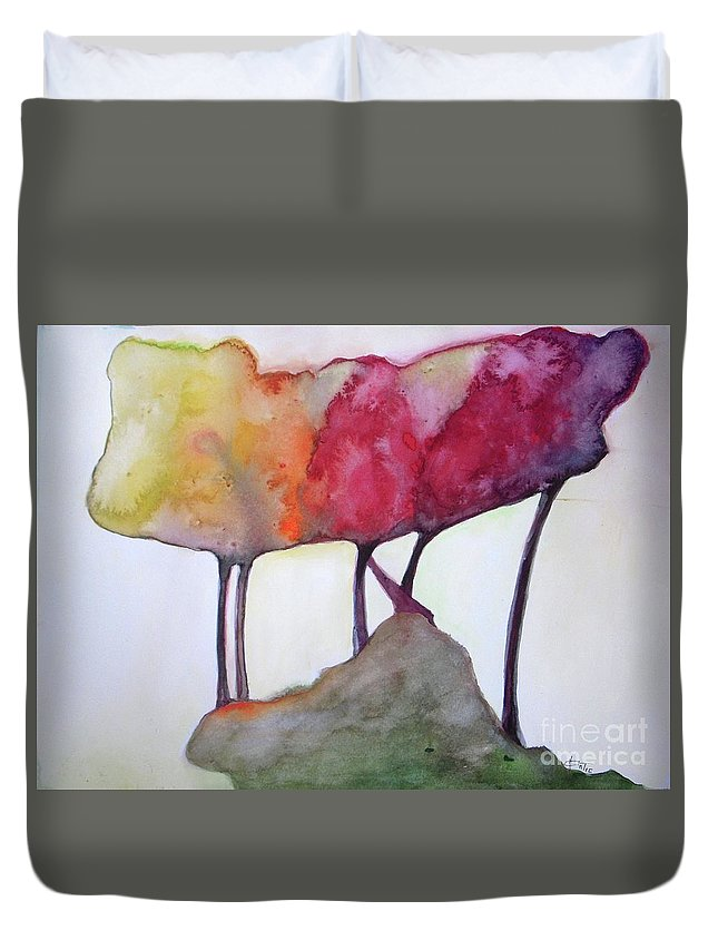 Landscape Duvet Cover featuring the painting Family Connected by Vesna Antic