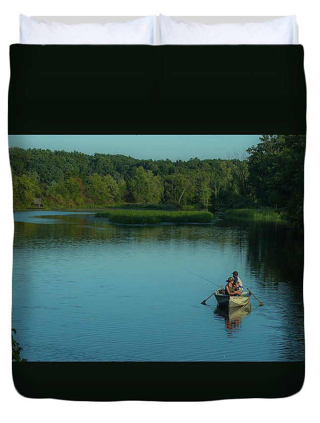 Fishing Duvet Cover featuring the photograph Family Fishing by Greg Thiemeyer