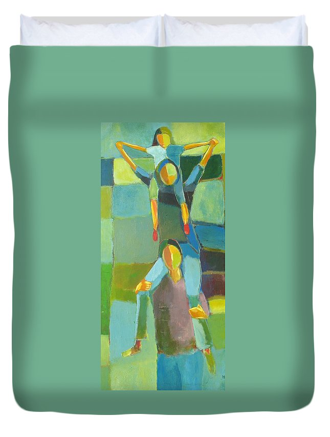 Abstract Duvet Cover featuring the painting Family Joy by Habib Ayat