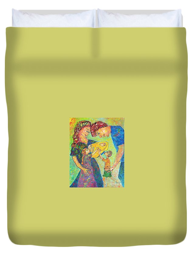 Family Enjoying Each Other Duvet Cover featuring the painting Family Matters by Naomi Gerrard