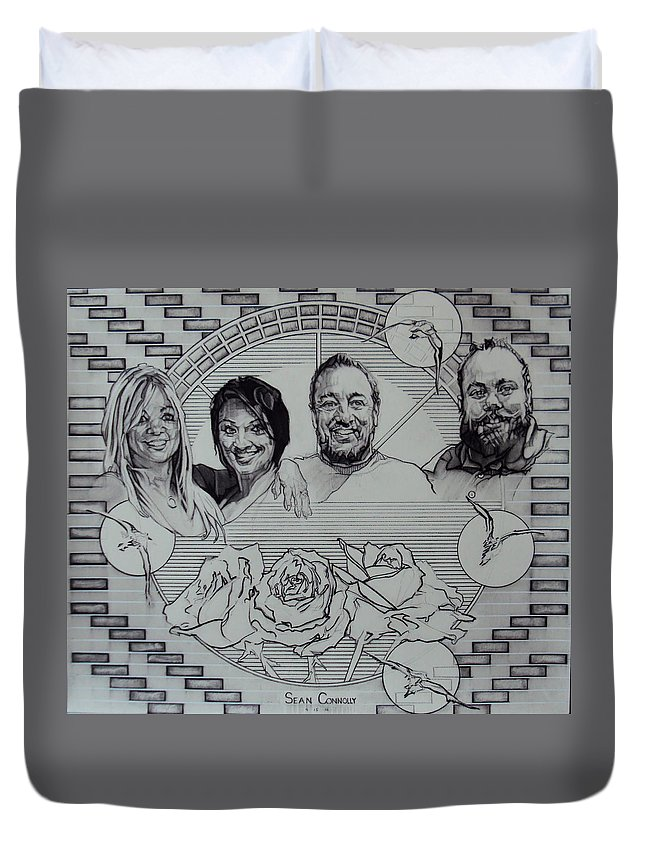 Charcoal Pencil Duvet Cover featuring the drawing Family Portrait In Charcoal by Sean Connolly