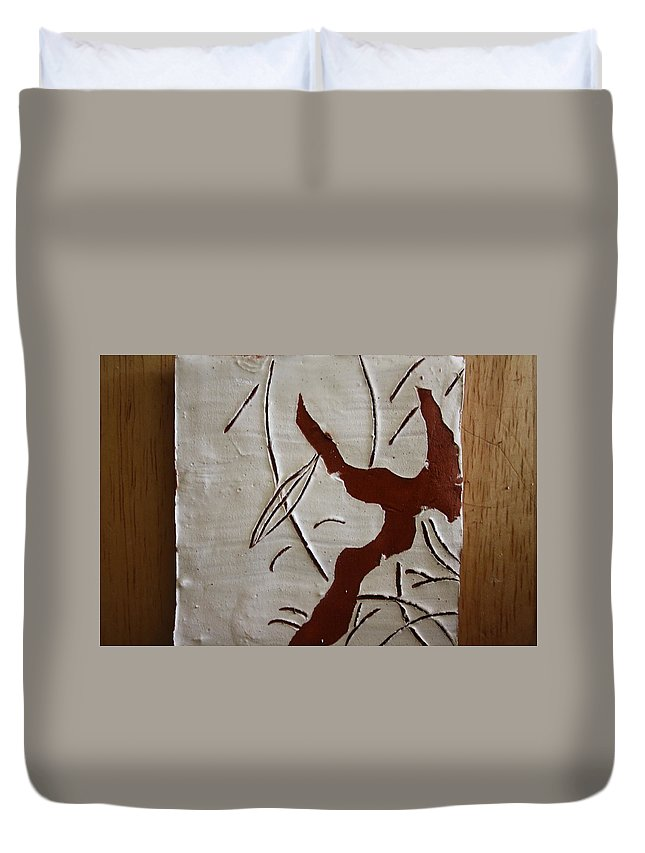 Jesus Duvet Cover featuring the ceramic art Family Smile - Tile by Gloria Ssali