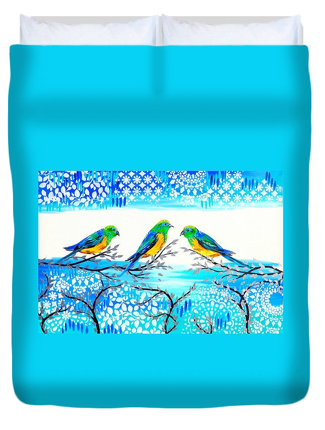 Parrot Duvet Cover featuring the painting Family Time by Cathy Jacobs