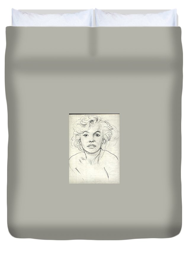 Portrait Duvet Cover featuring the drawing Famous Actress by Ralf Bartel