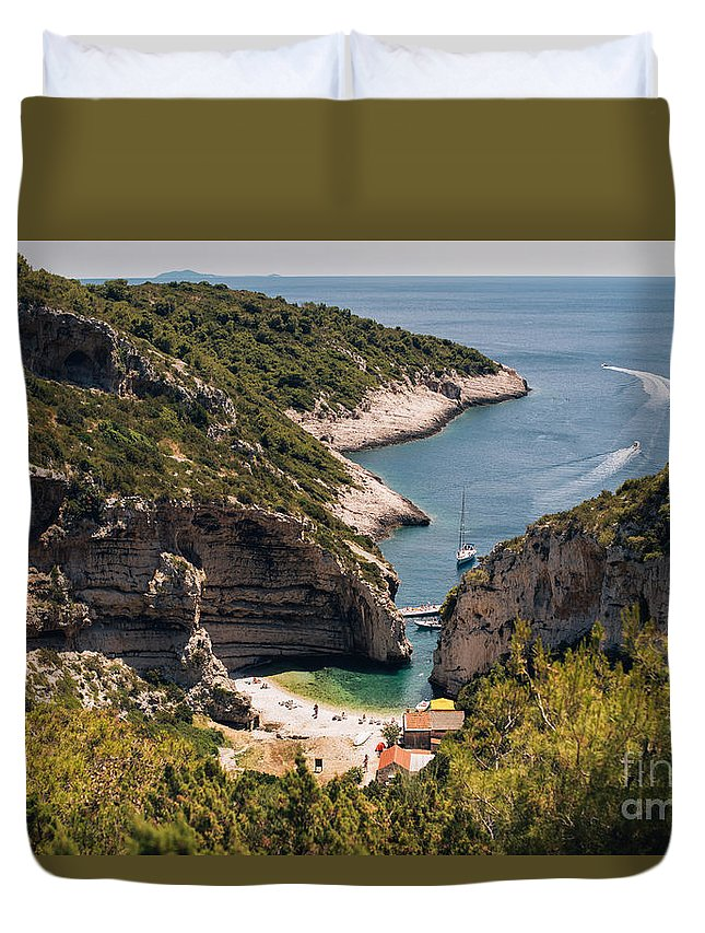 Island Duvet Cover featuring the photograph Famous Stiniva Beach by Viktor Pravdica