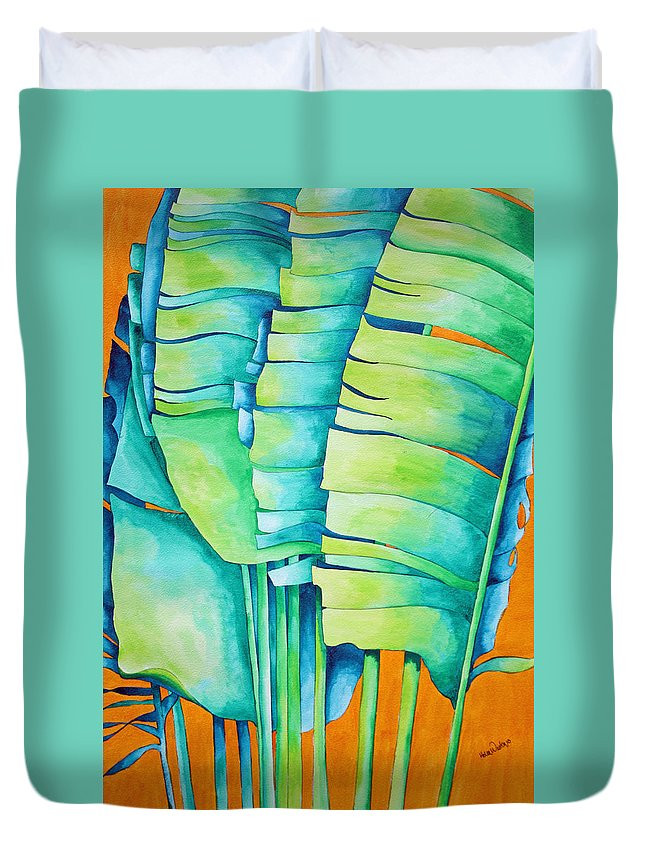 Fan Palm Duvet Cover featuring the painting Fan Palm With Orange 2 by Helen Weston
