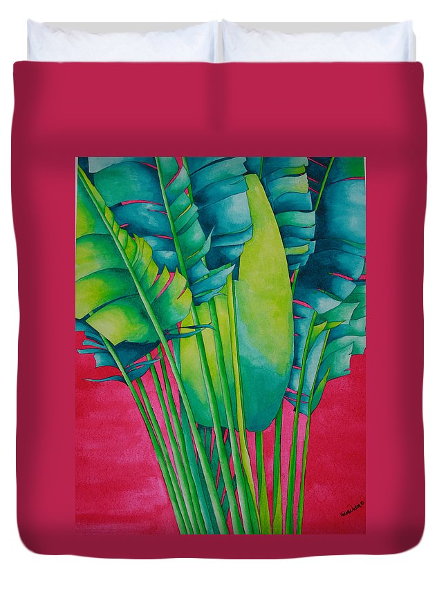 Fan Palm Duvet Cover featuring the painting Fan Palm With Pink by Helen Weston