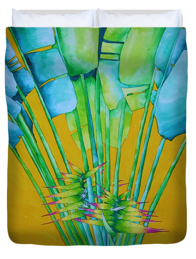 Fan Palm Duvet Cover featuring the painting Fan Palm With Yellow by Helen Weston