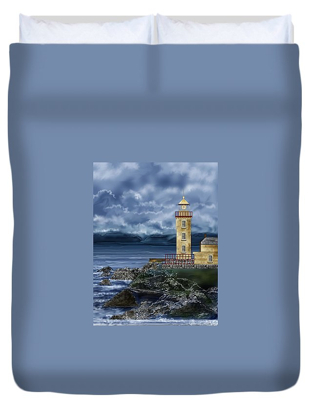 Lighthouse Duvet Cover featuring the painting Fanad Head Lighthouse Ireland by Anne Norskog