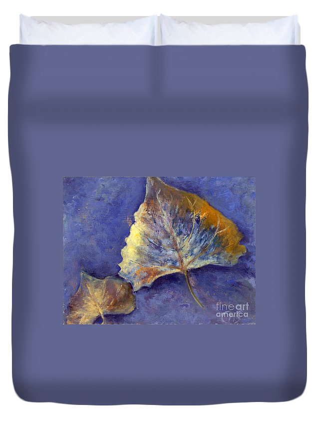 Leaves Duvet Cover featuring the painting Fanciful Leaves by Chris Neil Smith