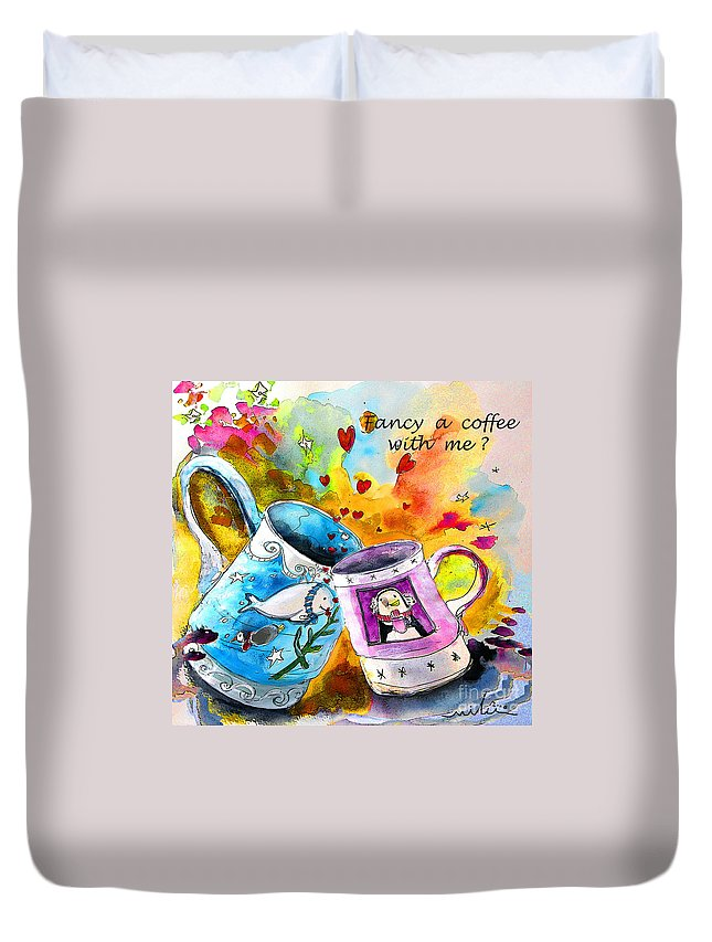 Cafe Crem Duvet Cover featuring the painting Fancy A Coffee by Miki De Goodaboom