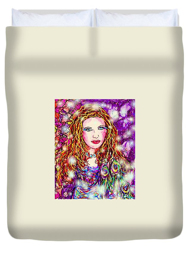 Female Duvet Cover featuring the digital art Fancy Lady by Natalie Holland