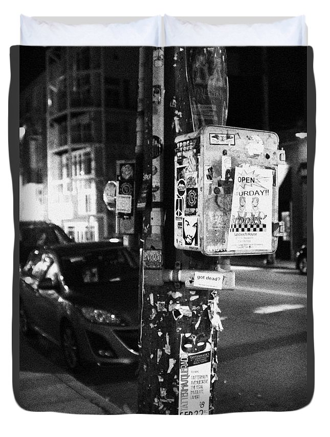 Street Duvet Cover featuring the photograph Fancy Pole by Meagan Davis