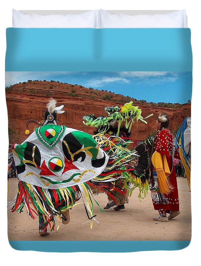 Fancy Shawl Dancer Duvet Cover featuring the photograph Fancy Shawl Dancer At Star Feather Pow-wow by Tim McCarthy