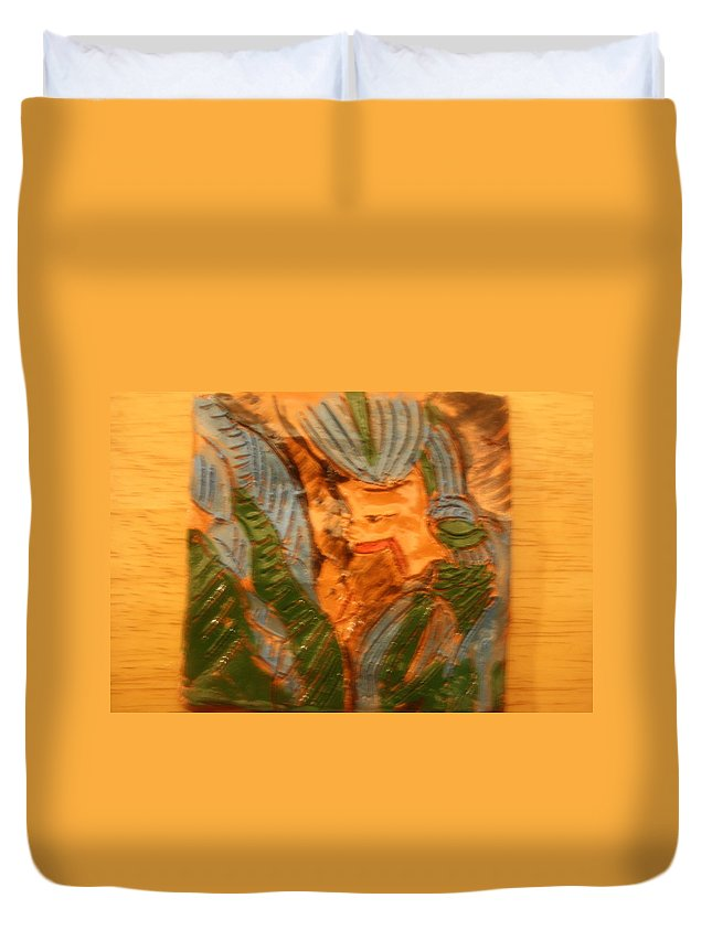 Jesus Duvet Cover featuring the ceramic art Fancy That - Tile by Gloria Ssali