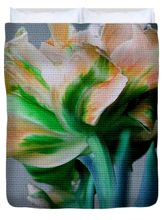 Flower Duvet Cover featuring the photograph Fancy Tulip by Donna Bentley