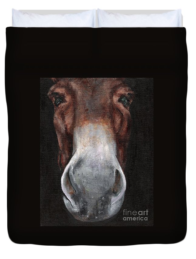 Mule Duvet Cover featuring the painting Fannie by Frances Marino