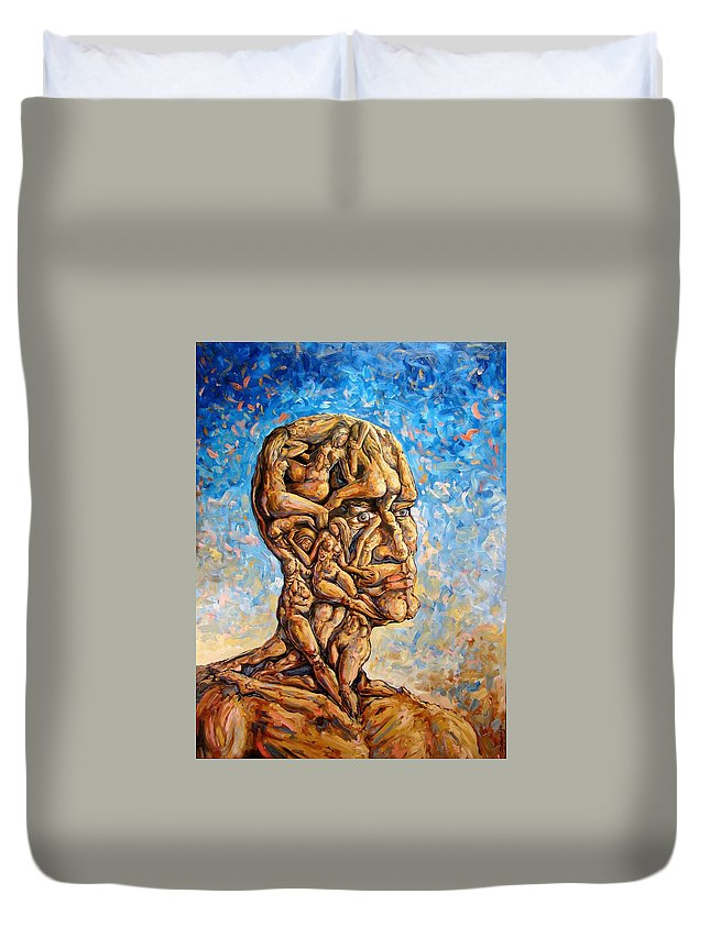 Surrealism Duvet Cover featuring the painting Fantasies Of A 120 Years Old Man Struggling To Survive by Darwin Leon