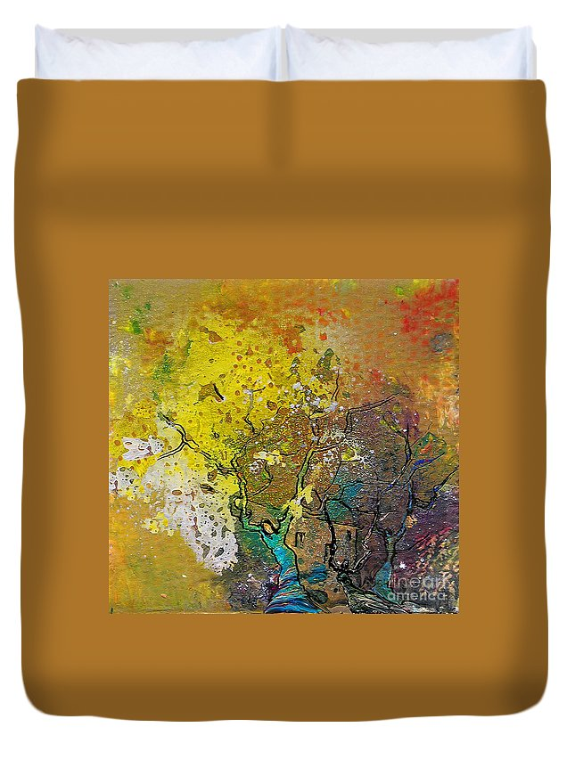 Miki Duvet Cover featuring the painting Fantaspray 13 1 by Miki De Goodaboom