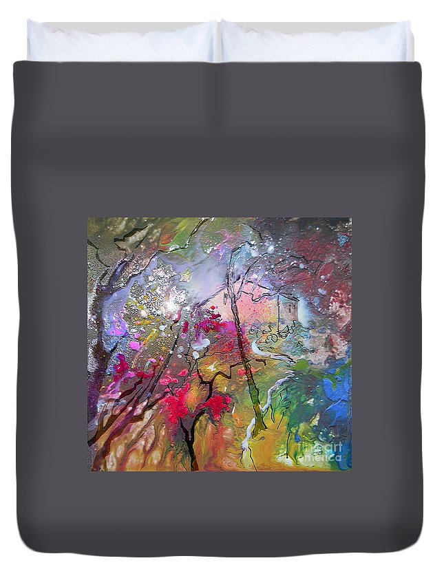 Miki Duvet Cover featuring the painting Fantaspray 19 1 by Miki De Goodaboom