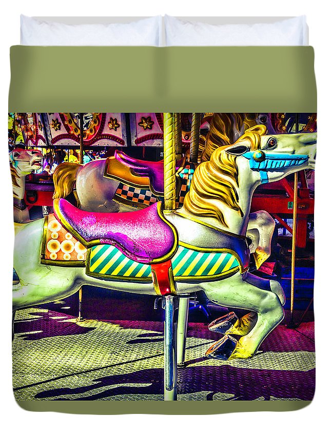 Magical Carousels Duvet Cover featuring the photograph Fantasy Fair Horse Ride by Garry Gay
