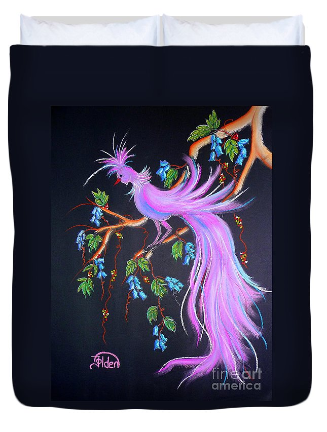 Bird Duvet Cover featuring the pastel Fantasy Feather Bird by Jo Hoden