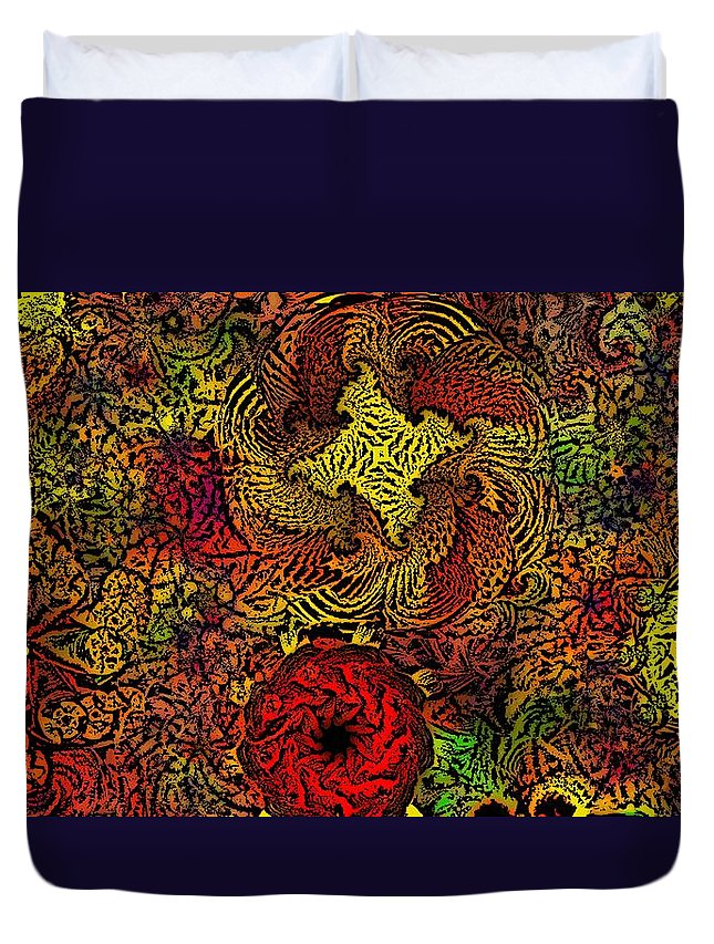 Abstract Digital Painting Duvet Cover featuring the digital art Fantasy Flowers Woodcut by David Lane