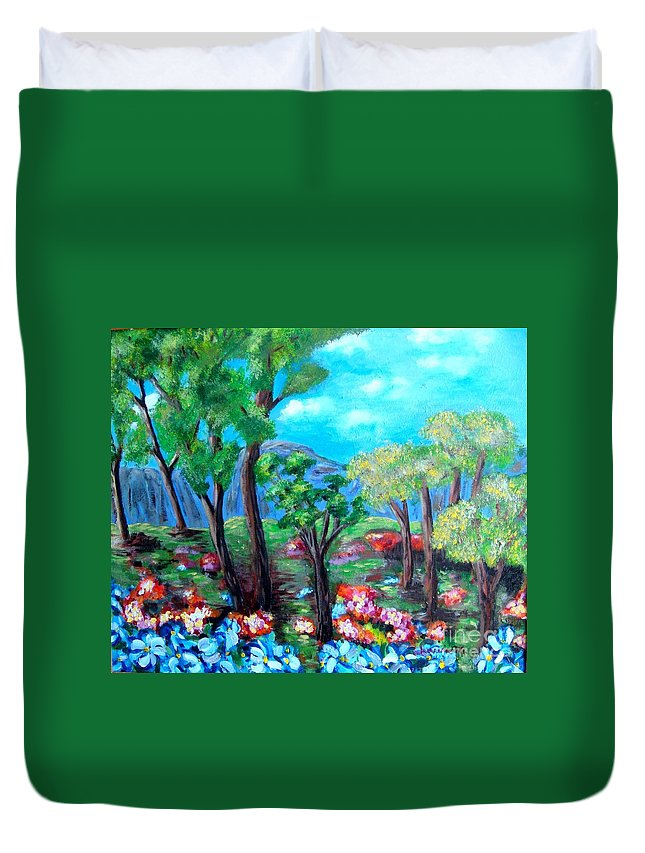 Fantasy Duvet Cover featuring the painting Fantasy Forest by Laurie Morgan