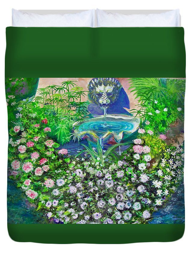 Fountain Duvet Cover featuring the painting Fantasy Fountain by Michael Durst