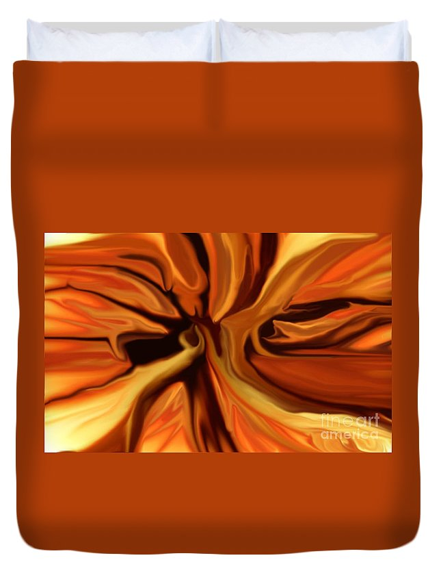 Abstract Duvet Cover featuring the digital art Fantasy In Orange by David Lane