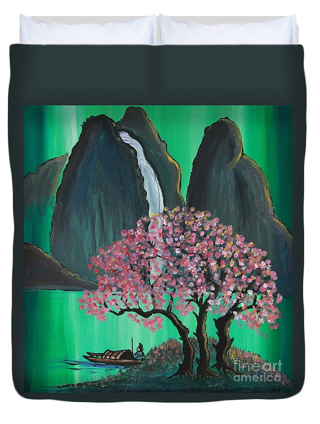 Japan Duvet Cover featuring the painting Fantasy Japan by Jacqueline Athmann