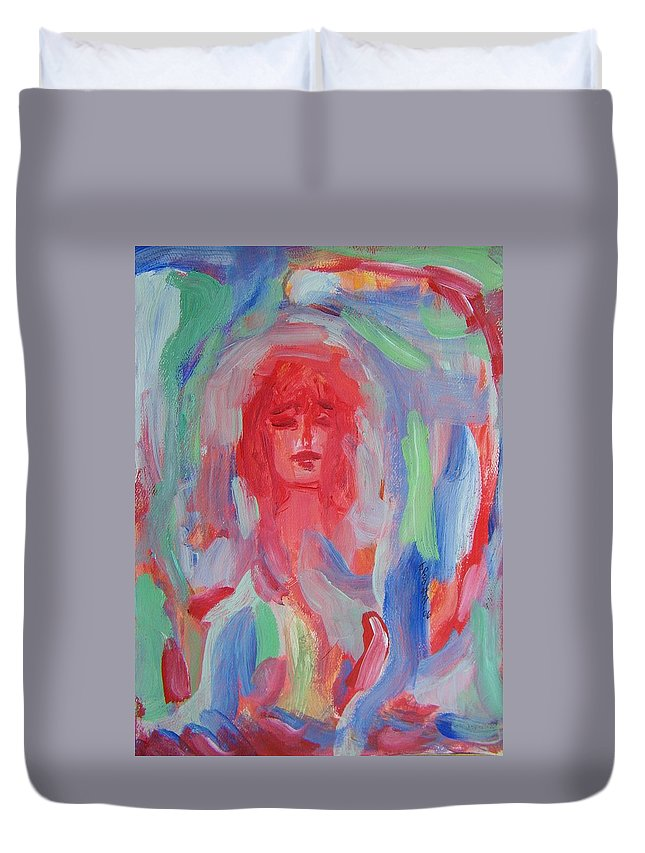 Abstract Duvet Cover featuring the painting Fantasy Lover by Judith Redman