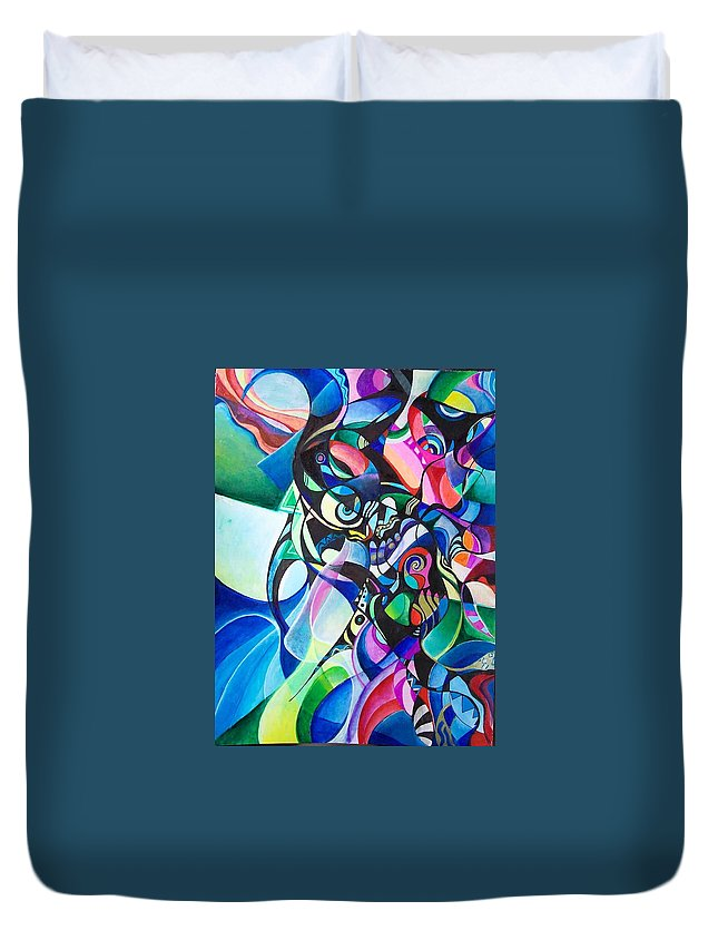Ab Stract Acrylic Painting Pen Gel Ink Color Paper Duvet Cover featuring the painting Fantasy by Wolfgang Schweizer