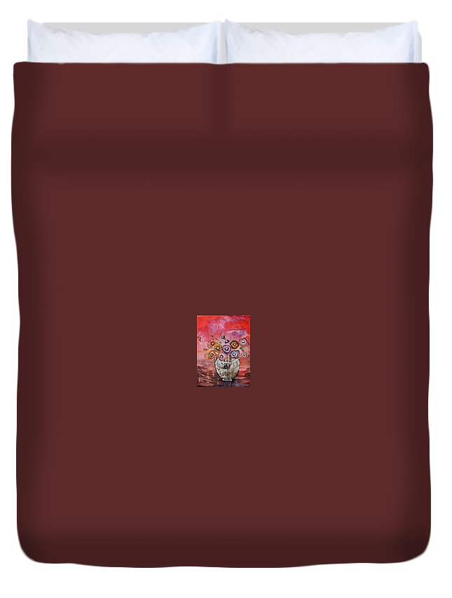 Pot Of Flowers Duvet Cover featuring the mixed media Fantome by Dominique Desmeules