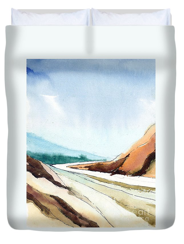 Landscape Duvet Cover featuring the painting Far Away by Anil Nene