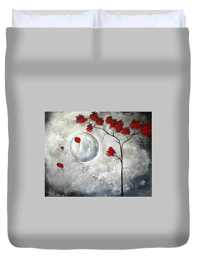 Abstract Duvet Cover featuring the painting Far Side Of The Moon By Madart by Megan Duncanson