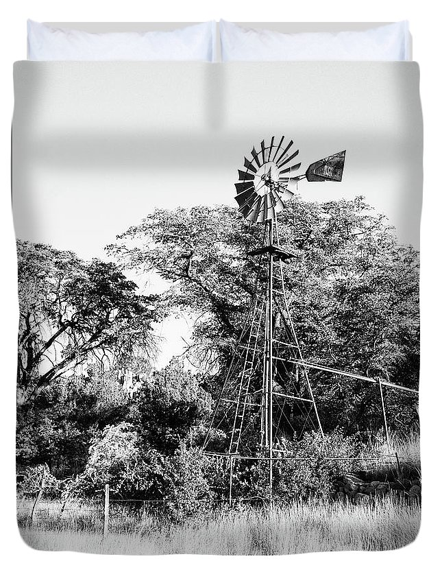 B&w Duvet Cover featuring the photograph Faraway Windmill by Jack Sassard
