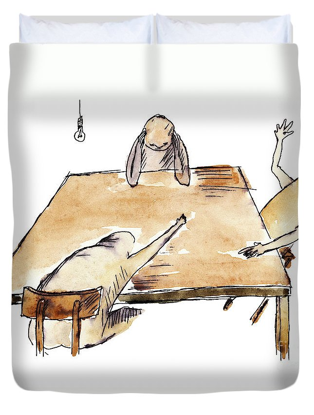 Drawing Duvet Cover featuring the painting Farewell Party by Michal Boubin
