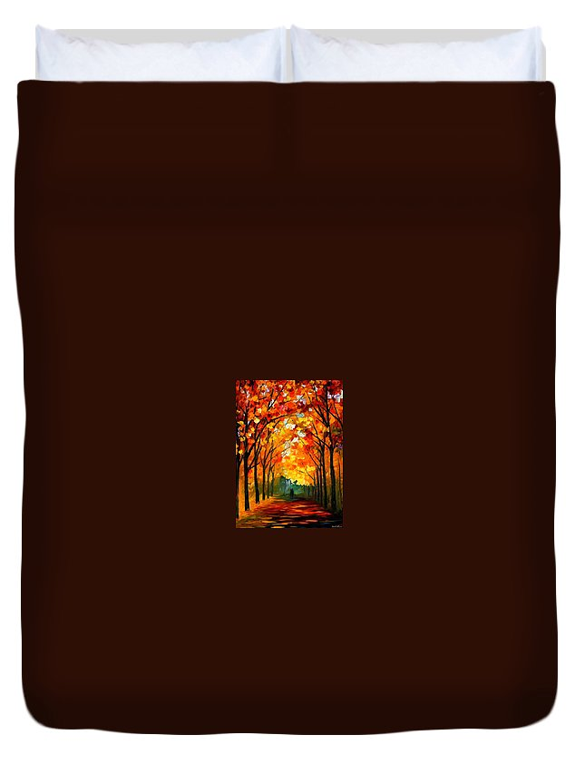 Afremov Duvet Cover featuring the painting Farewell To Autumn by Leonid Afremov