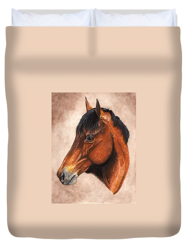Horse Duvet Cover featuring the painting Farley by Kristen Wesch