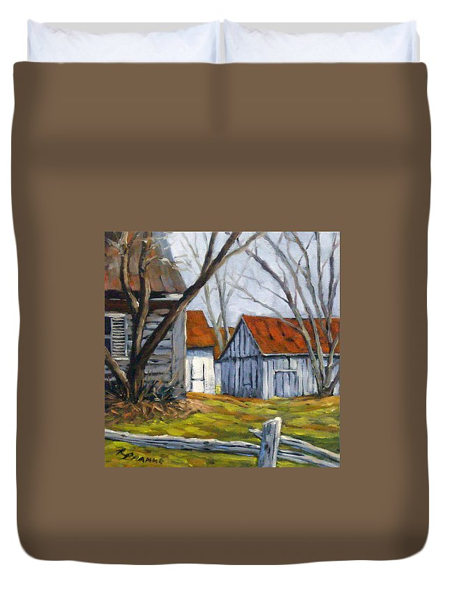 Farm Duvet Cover featuring the painting Farm In Berthierville by Richard T Pranke
