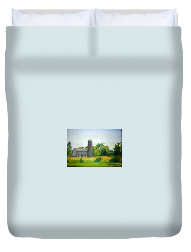 Farm Duvet Cover featuring the painting Farm In The Pine Barrens by Sheila Mashaw