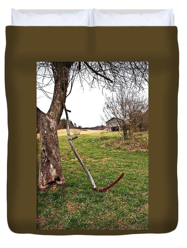 Sythe Duvet Cover featuring the photograph Farm Scene by Douglas Barnett