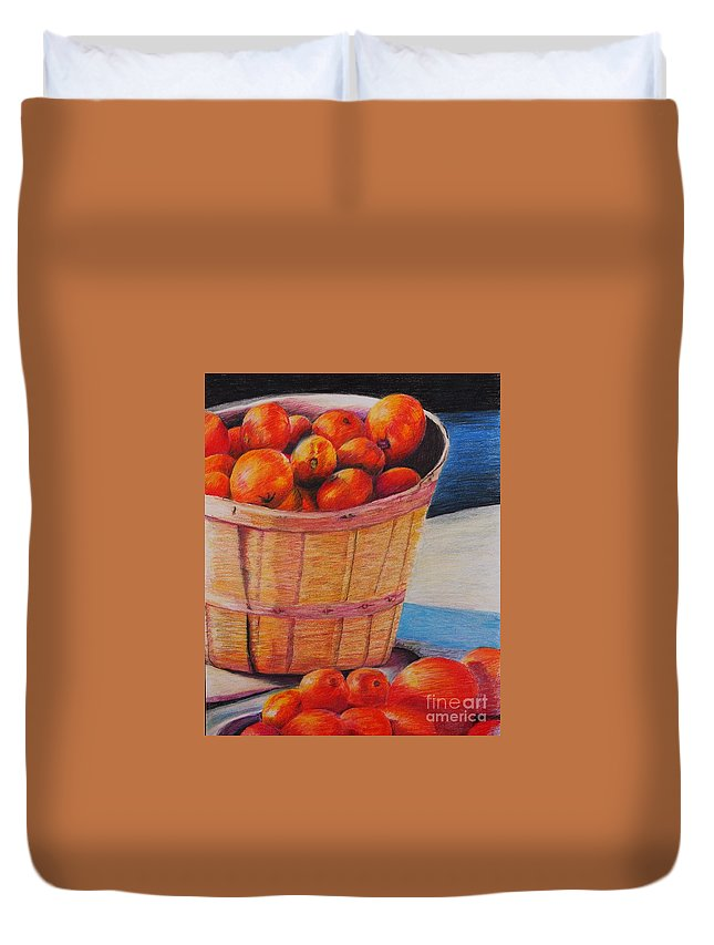 Produce In A Basket Duvet Cover featuring the drawing Farmers Market Produce by Nadine Rippelmeyer