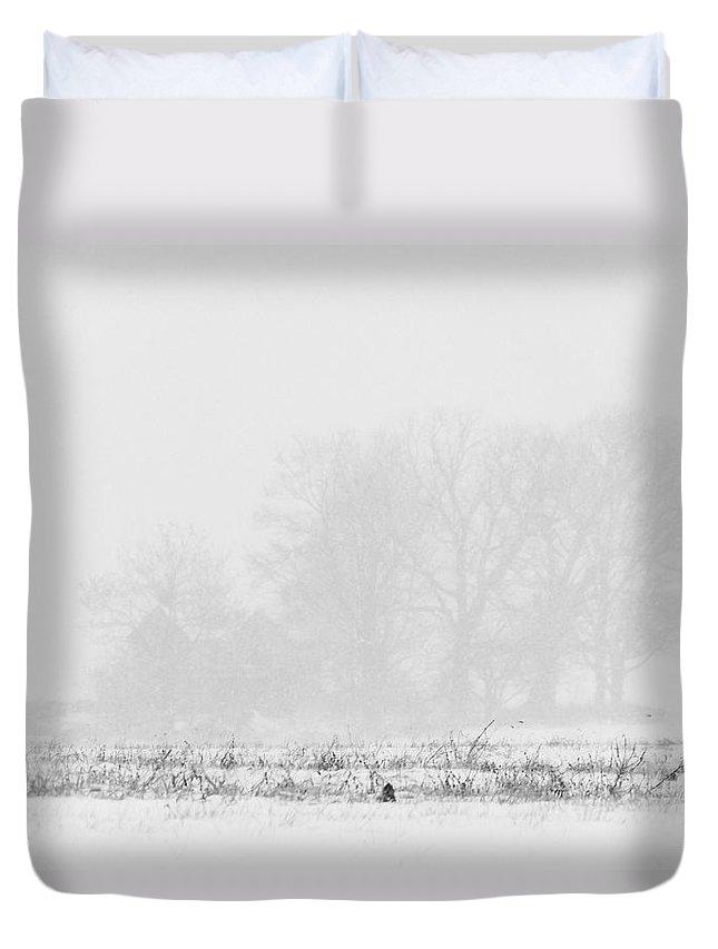 Farm Duvet Cover featuring the photograph Farmhouse Blizzard by Francesa Miller