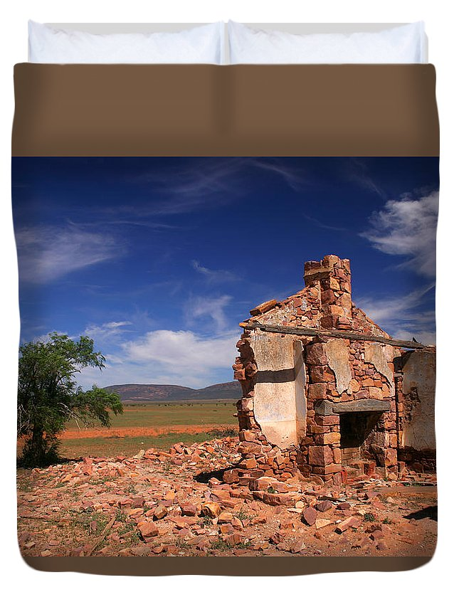 Cottage Duvet Cover featuring the photograph Farmhouse Cottage Ruin Flinders Ranges South Australia by Ralph A Ledergerber-Photography