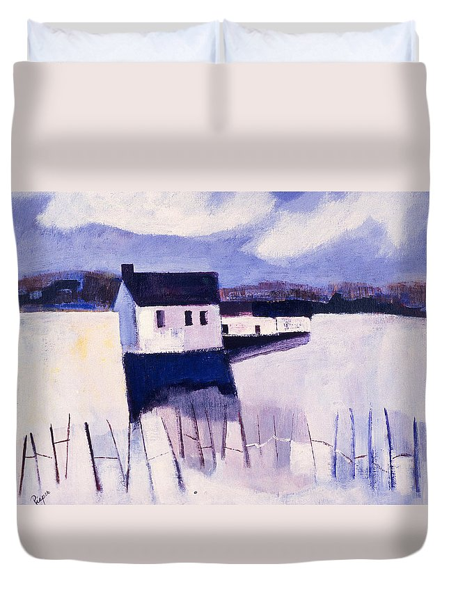 Winter Duvet Cover featuring the painting Farmhouse In Winter by Betty Pieper