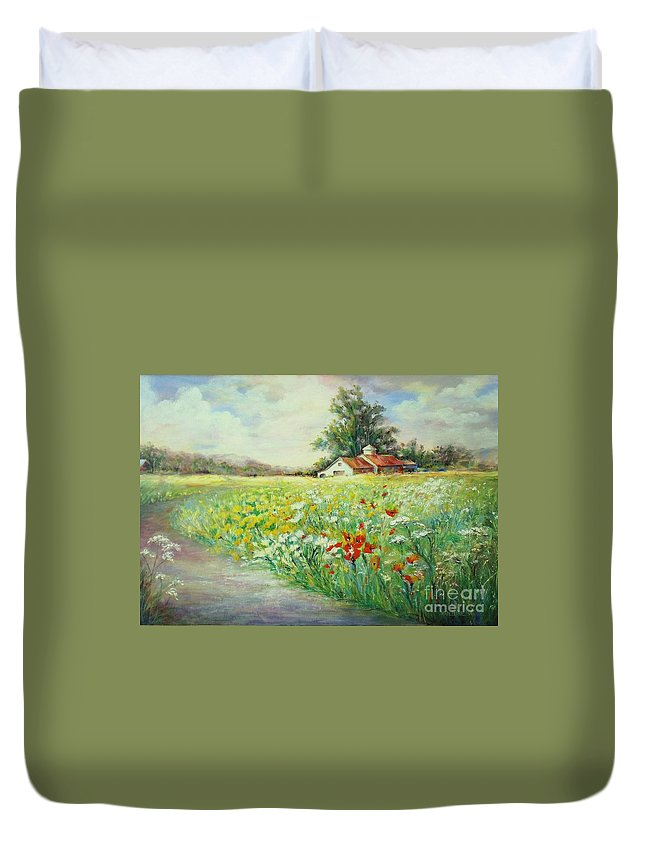 Canvas Prints Duvet Cover featuring the painting Farmhouse by Madeleine Holzberg