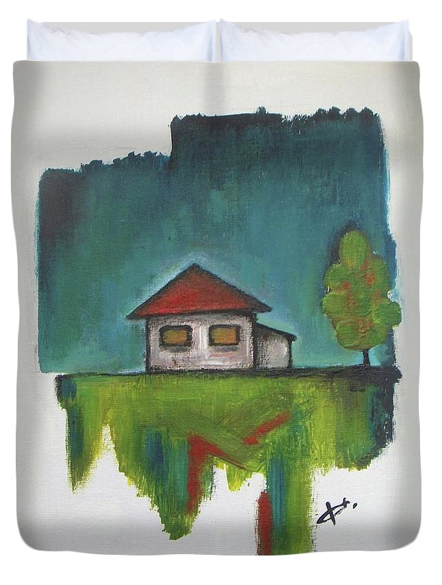 Farmhouse Duvet Cover featuring the painting Farmhouse by Vesna Antic